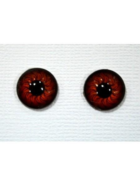 Глаза круглые ,клеевые ,рыжие, 12 мм, цена за пару