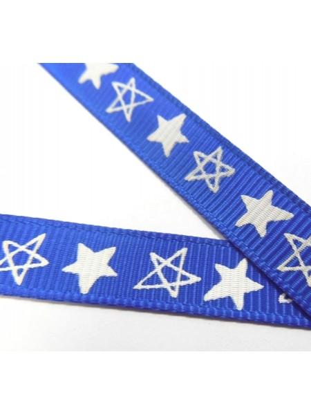 Лента репсовая,звёздочки на синем, 9мм,цена за 1 м