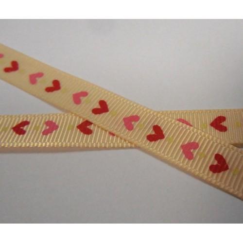 Лента репсовая,сердечки на кремовом, 9мм,цена за 1 м
