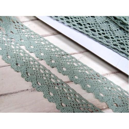 Кружево вязанное ажурное,цв-полынь,25мм,цена за 1 метр