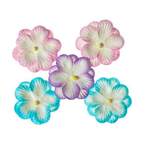 Анютины глазки, набор двойных цветочков 5 штук, пастельный
