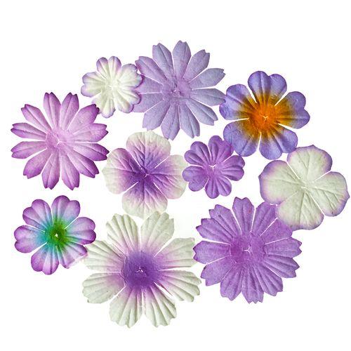 Набор цветочков из шелковичной бумаги 10 шт, цв-сиреневый