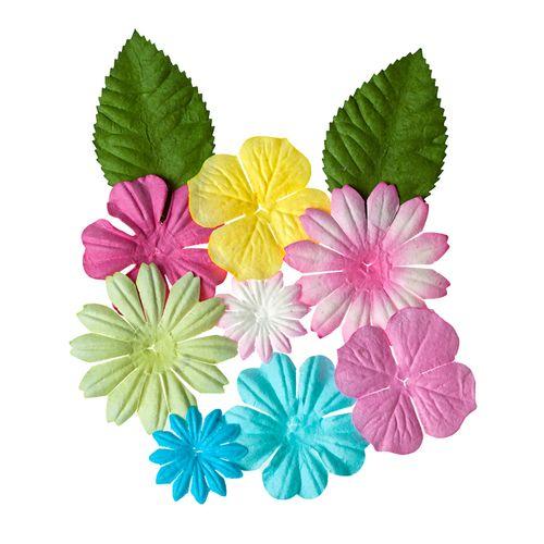 Набор цветочков с листочками 10 шт, ПАСТЕЛЬНЫЕ