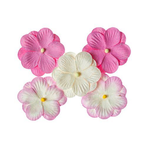 Анютины глазки, набор двойных цветочков 5 штук, розовый