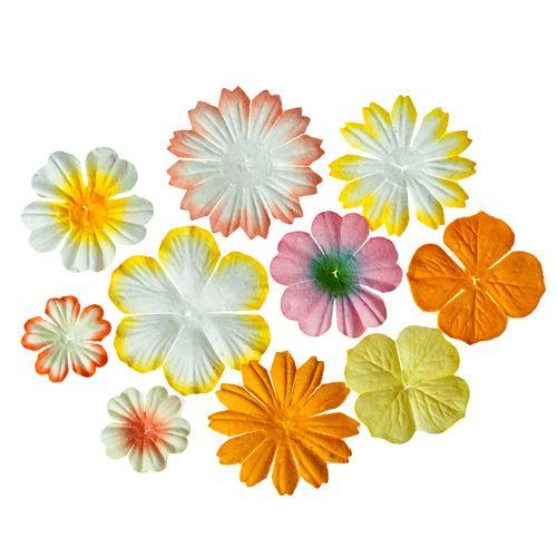 Набор цветочков из шелковичной бумаги 10 шт,цв-светло желтый и кремовый