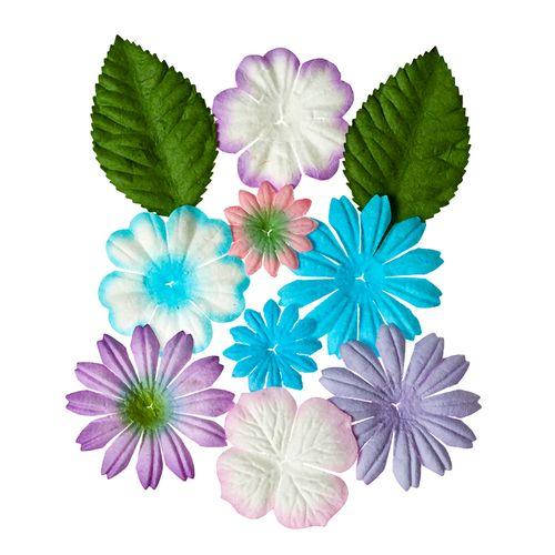 Набор цветочков с листочками 10 шт, НЕЖНЫЕ