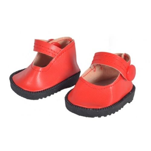 Туфельки на кнопке, красные