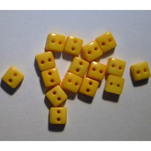 Пуговицы мини-квадрат-6мм,цвет жёлтый. Цена за 1 шт