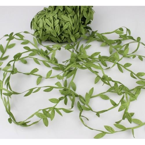 Тесьма декоративная( с листиками)зелёная,цена за 1 метр