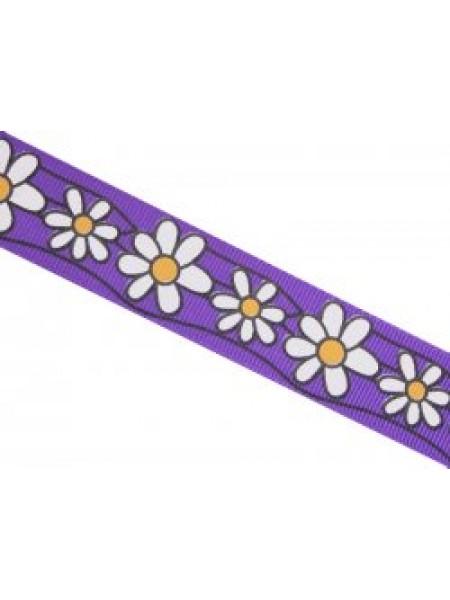 Лента репсовая -Ромашки большие на фиолетовом,2,5см.-цена за 1 метр
