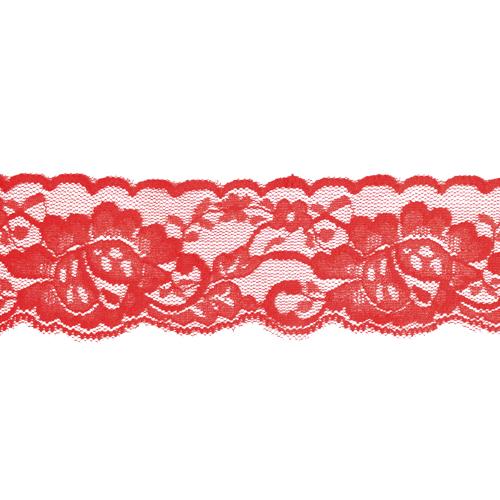 Кружево эластичное,5см,цв-красный, цена за 1м