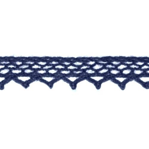Кружево вязанное, хлопок,0,8см.цв синий,002-54.цена за 1 м