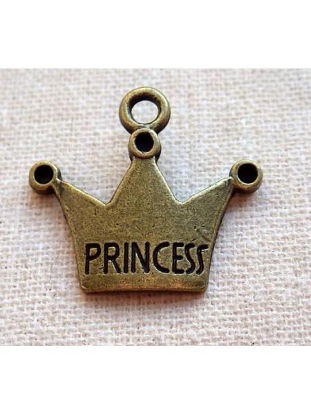 """Подвеска Корона """"Принцесса"""",бронза,цена за 1 шт"""