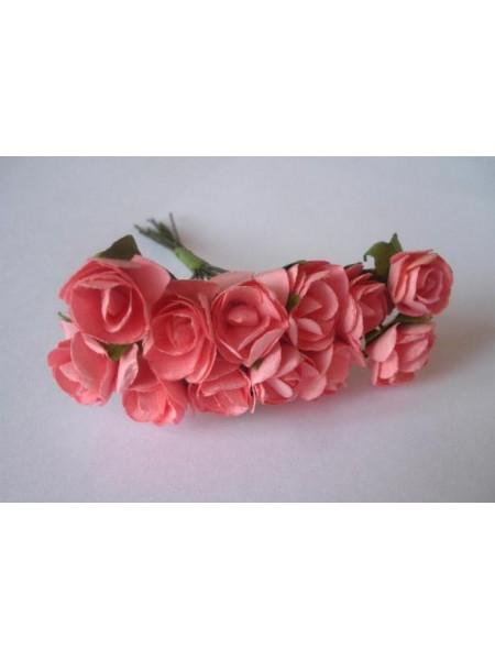 Розочки лососево-розовые  12мм  12шт