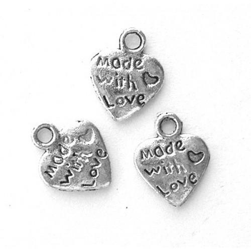 Подвеска сердце Сделано с любовью,цв-сереброцена за 1 шт