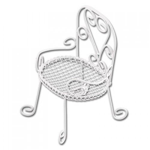 Металлический круглый мини-стул, белый, 8*6*5 см