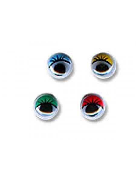 Глаза круглые с бегающими зрачками , 12 мм, жёлтые с ресницами,,цена за пару