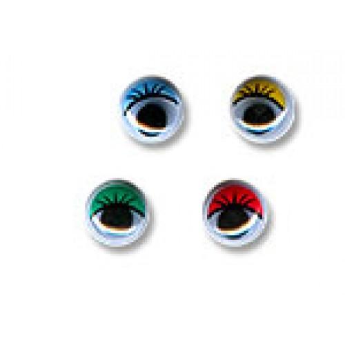 Глаза круглые с бегающими зрачками , 12 мм, зелёные с ресницами,,цена за пару