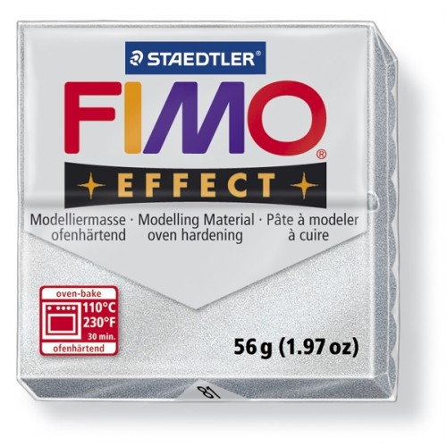 Полимерная глина FIMO effect,57гр,металлик серебро