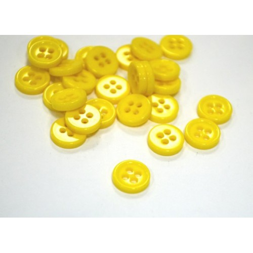 Пуговица акриловая, на 4 прокола,8мм,Цв-жёлтый,цена за 1 шт
