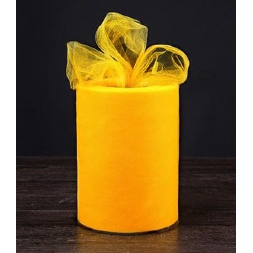 Лента фатиновая, 15 см цв-№-18-тёмно-жёлтая,цена за 1 метр