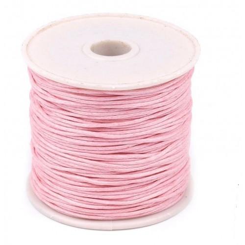 Вощеный шнур,1 мм. цвет светло-розовый