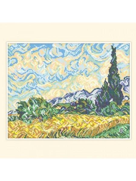 """Схема  для вышивки бисером """"Пшеничное поле с кипарисами"""" (В. Ван Гог)  РС-240-Р"""