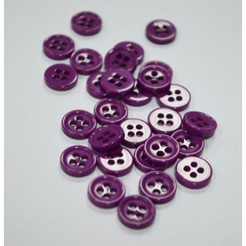 Пуговица акриловая, на 4 прокола,8мм,Цв-фиолетовый,цена за 1 шт