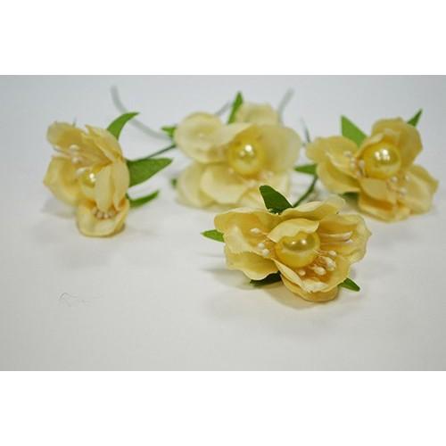 Цветок с бусинкой-кремовый, цена за 1 шт