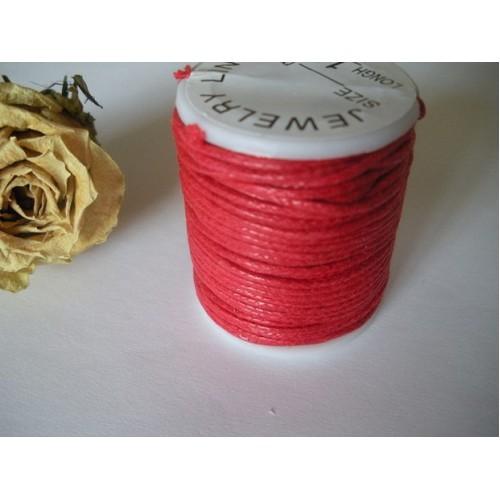 Вощеный шнур,1 мм. цвет красный-026,цена за 1 метр