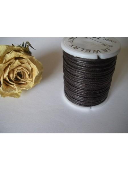 Вощеный шнур,1 мм. цвет чёрный,039..