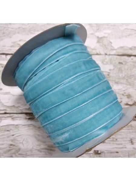 Лента бархатная, 10мм,голубая,1метр