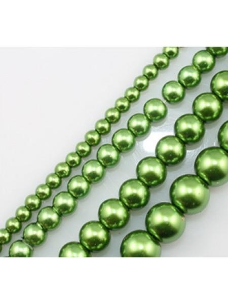 Бусины стекло, под жемчуг-зелёный,10мм,цена за 1 шт