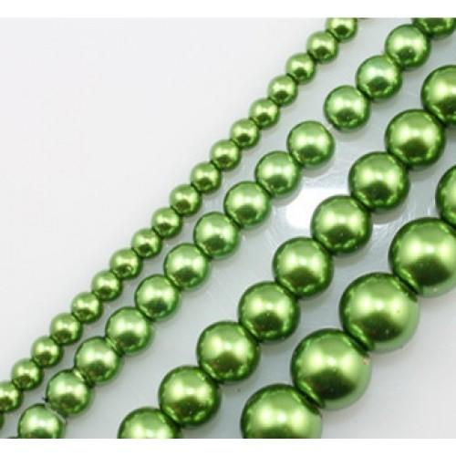 Бусины стекло, под жемчуг-зелёный,8мм,цена за 1 шт