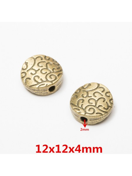 Бусина металлическая,12*12 мм,цв-бронза,цена за 1 шт