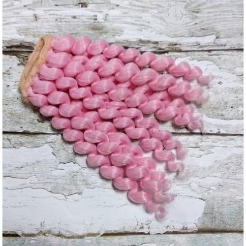Трессы-завиток(волосы для кукол)-15 см,розовые