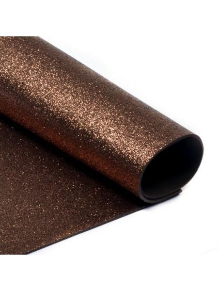 Глиттерный фоамиран, А4,цв-коричневый