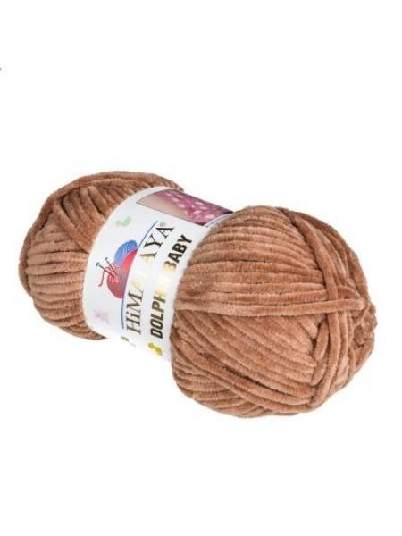 Плюшевая пряжа Долфин Бэби,цв-коричневый,№337,100гр
