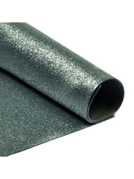 Глиттерный фоамиран, А4,цв-тёмно-серый