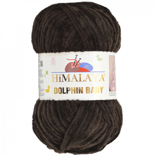 Плюшевая пряжа Долфин Бэби,цв-тёмно-коричневый,№343,100гр