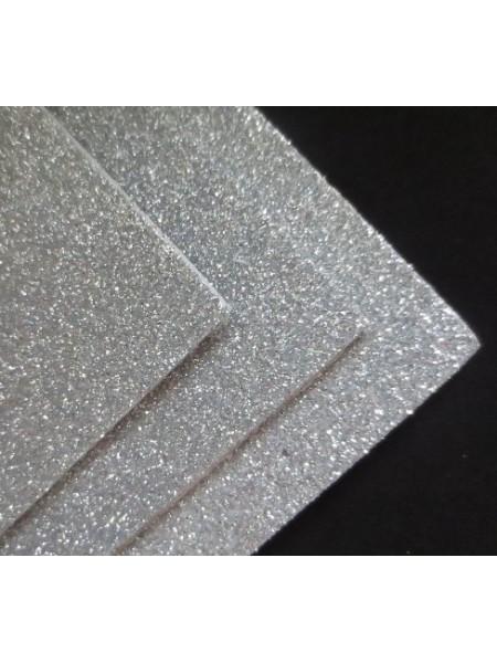 Глиттерный фоамиран, А4,цв-серебро
