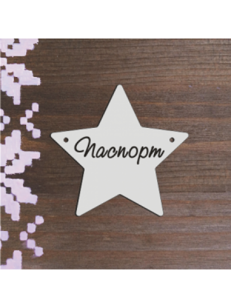 Бирочка серебряная-Паспорт(звезда)