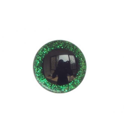 Глазки безопасные,блестящие,цв-зелёный,25 мм,цена за пару