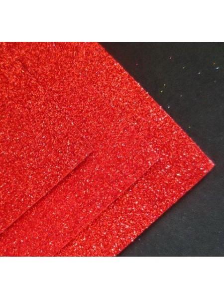 Глиттерный фоамиран, А4,цв-красный с перламутром