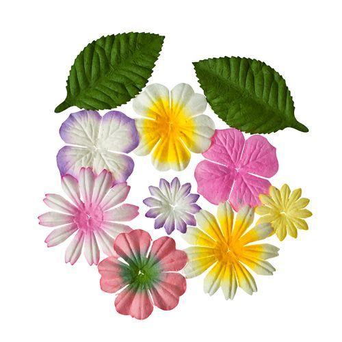 Набор цветочков из шелковичной бумаги с листочками 10 шт,Закат