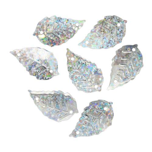 "Пайетки ""Листочки"",10гр,цв-серебро голограмма, А200-12"