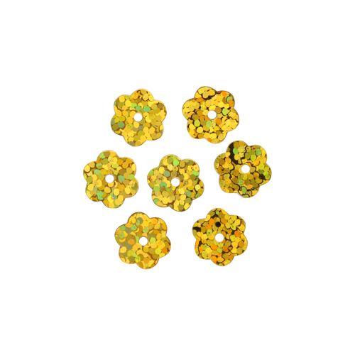 Пайетки Цветочки,10гр,цв золото голограмма, А600-20