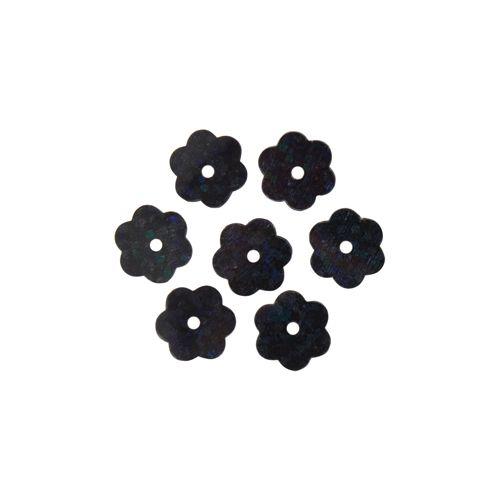 Пайетки Цветочки,10гр,цв черный голограмма, А600-50