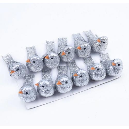 Птичка декоративная цв-серебро, 4см  ,Цена за 1 шт