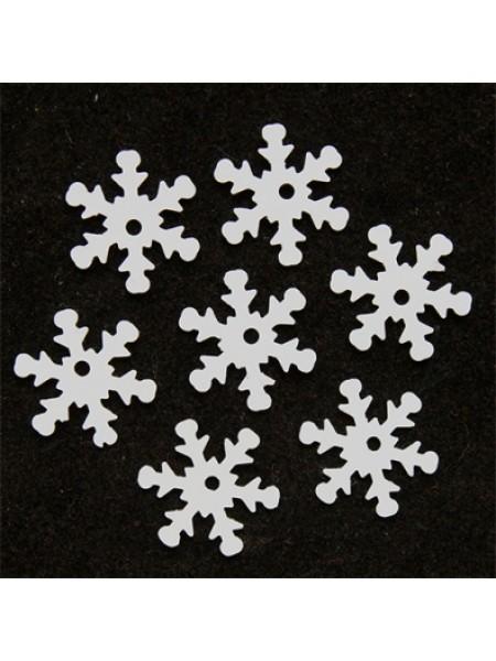 Пайетки 'снежинки',цв-белый,матовый,13 мм- цв-L010